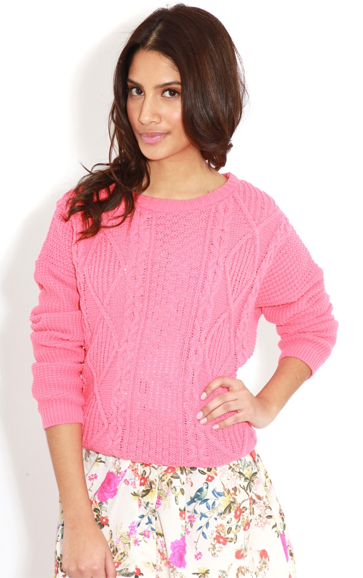 Alina Coral Cable Knit Jumper  4