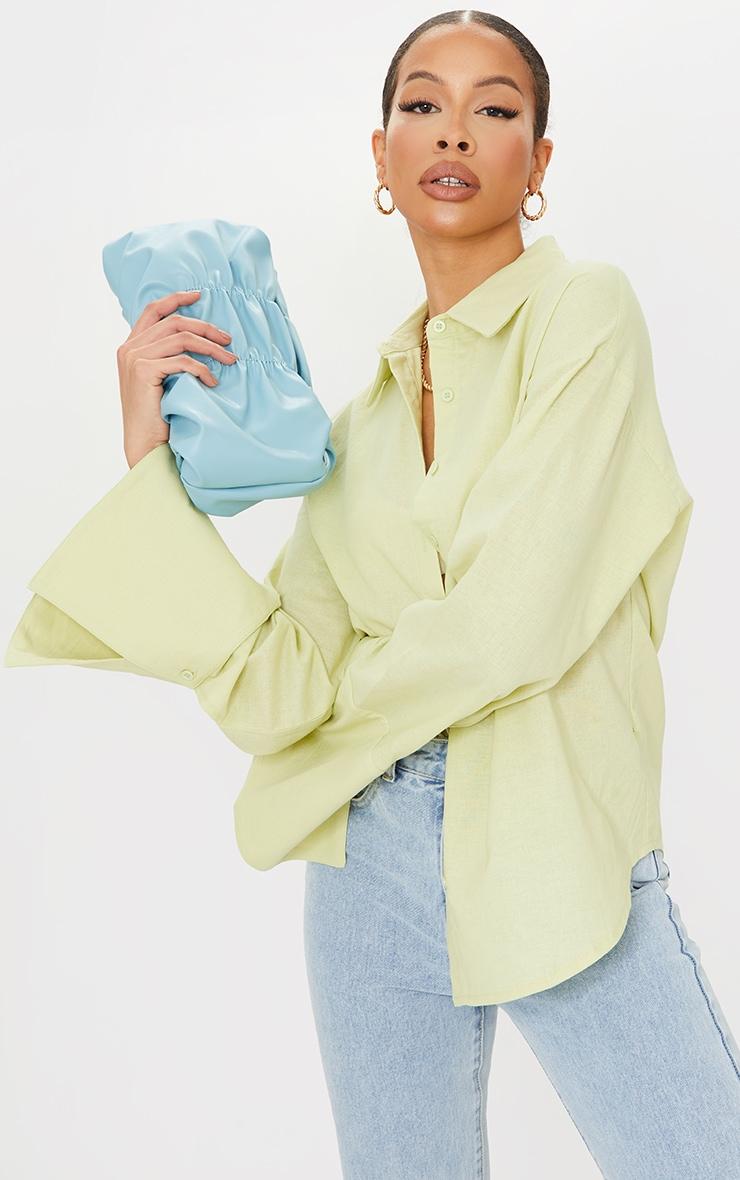 Tall Green Linen Look Wide Sleeve Shirt 1