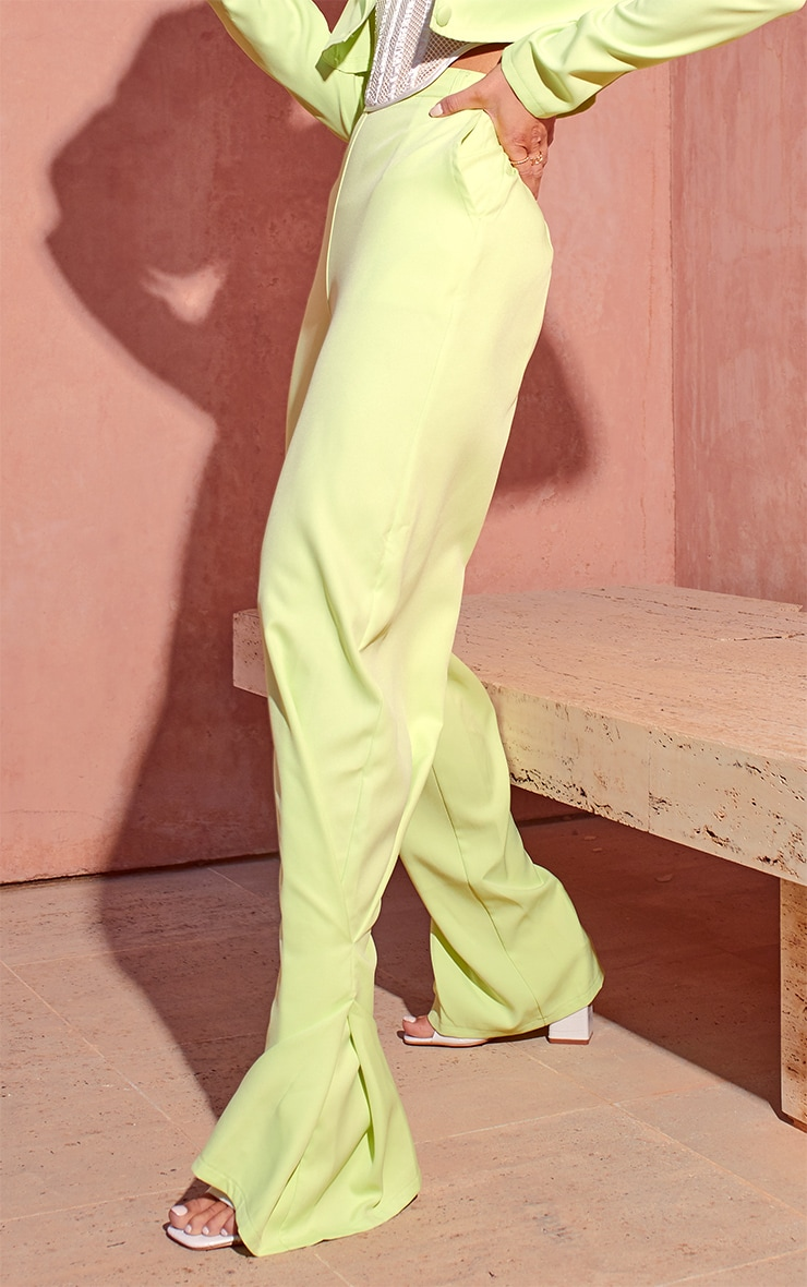 Lime Pleated Detail Tapered Hem Trousers 2