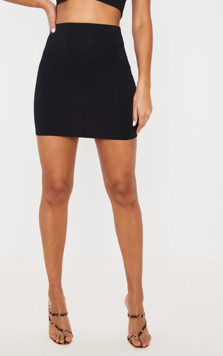 Mini-jupe noire en jersey classique 2