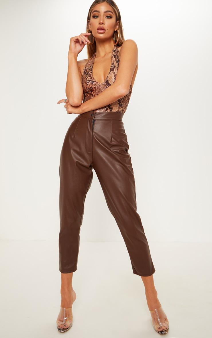Tan Halterneck Snake Print Bodysuit 4