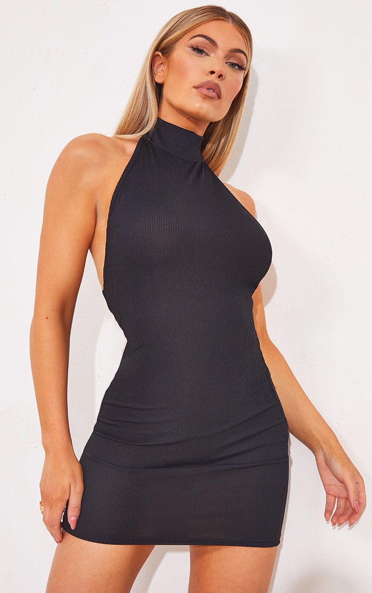 Black Ribbed High Neck Extreme Open Back Bodycon Dress 2