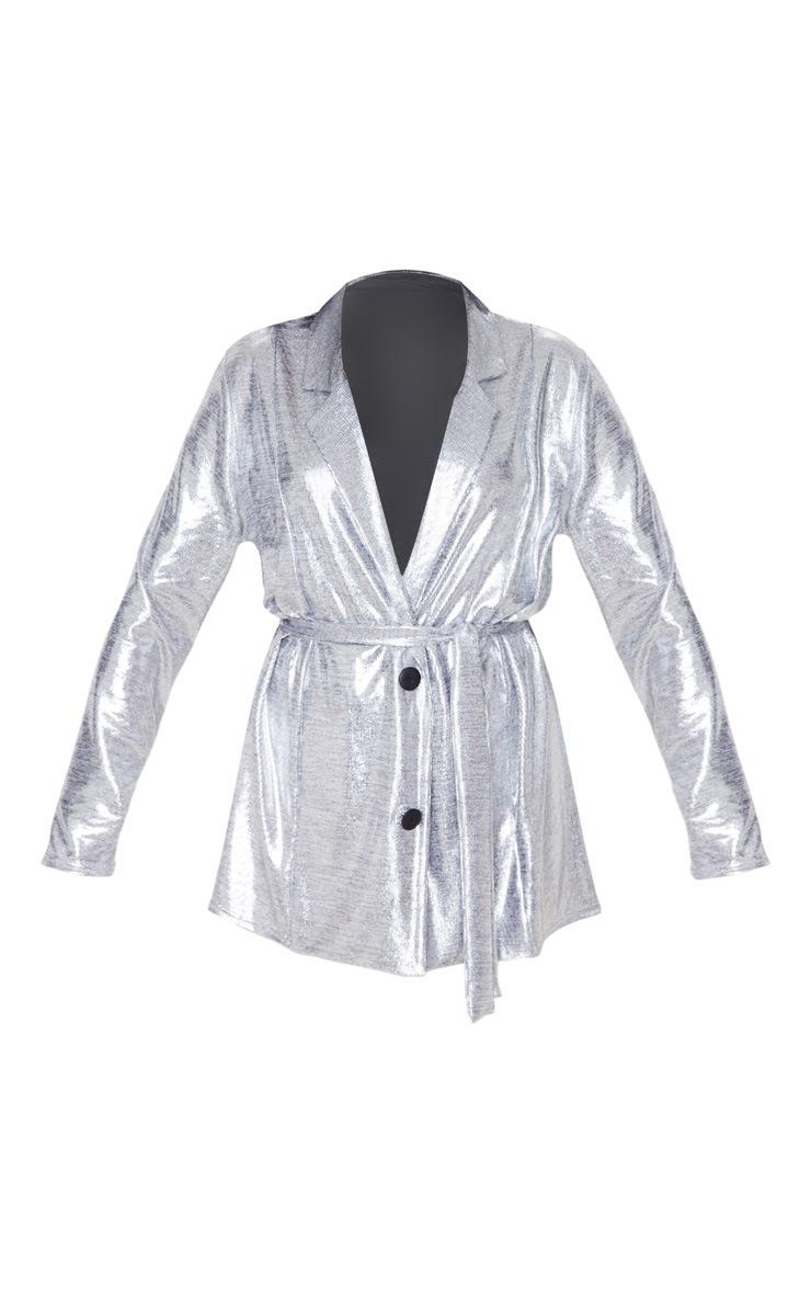 Silver Metallic Longline Blazer 3