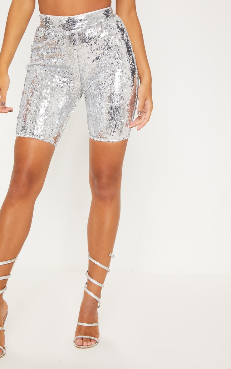Silver Sequin Cycle Shorts | Shorts | PrettyLittleThing AUS