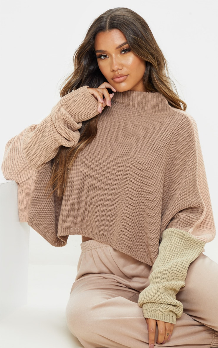 Stone Oversized Colour Block Sweater 1