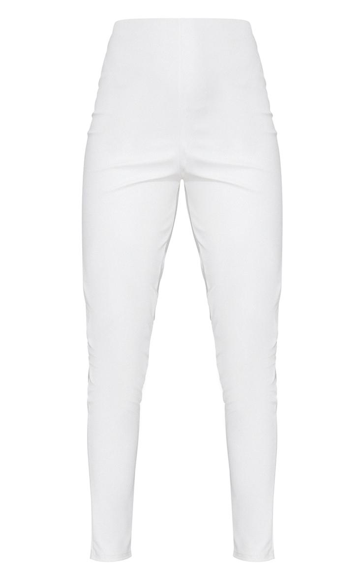 Cream Basic Faux Leather High Waist Leggings 5