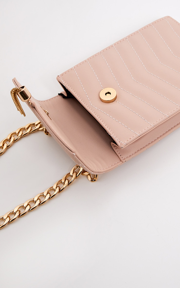 Nude Quilted Flat Pouch Chain Cross Body 3