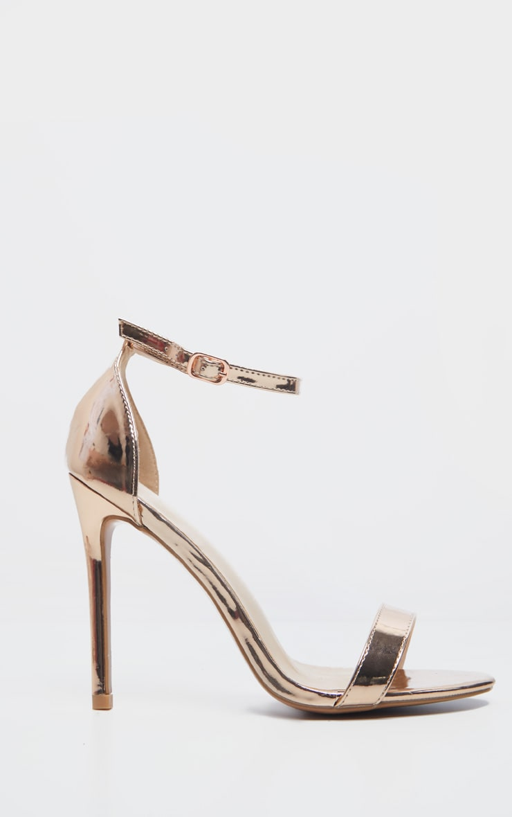 Clover Metallic Rose Gold Strap Heeled Sandal 5
