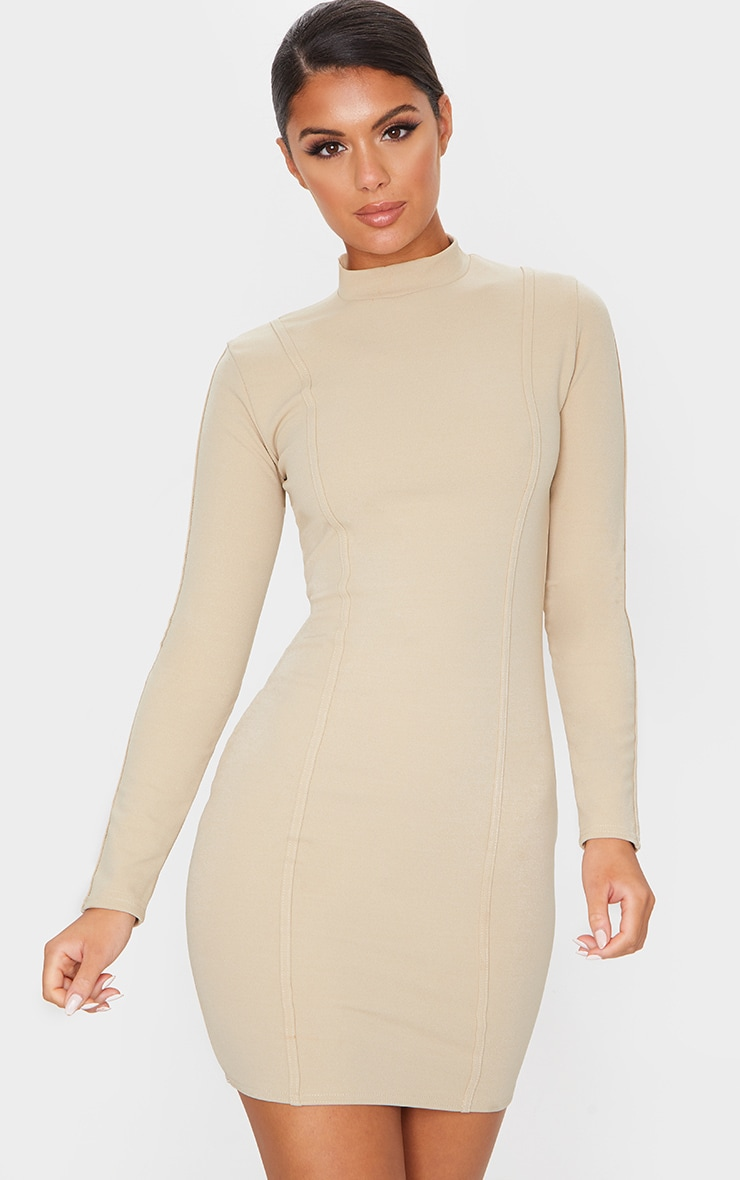 Stone High Neck Long Sleeve Binding Detail Bodycon Dress 1