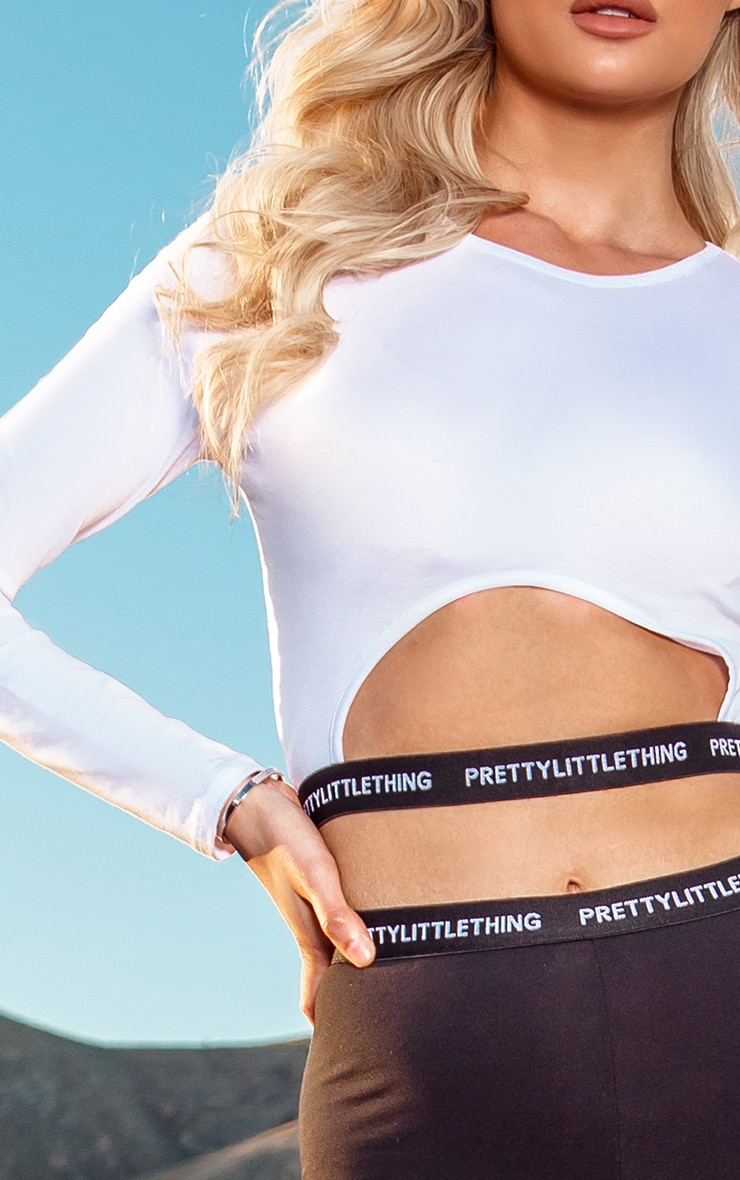 PRETTYLITTLETHING Tall White Long Sleeve Crop Top 4