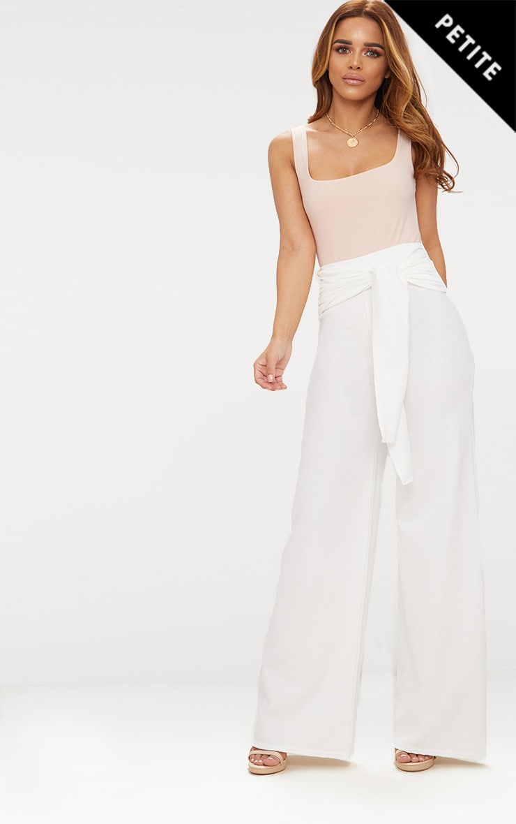 Petite White Tie Front Wide Leg Trousers
