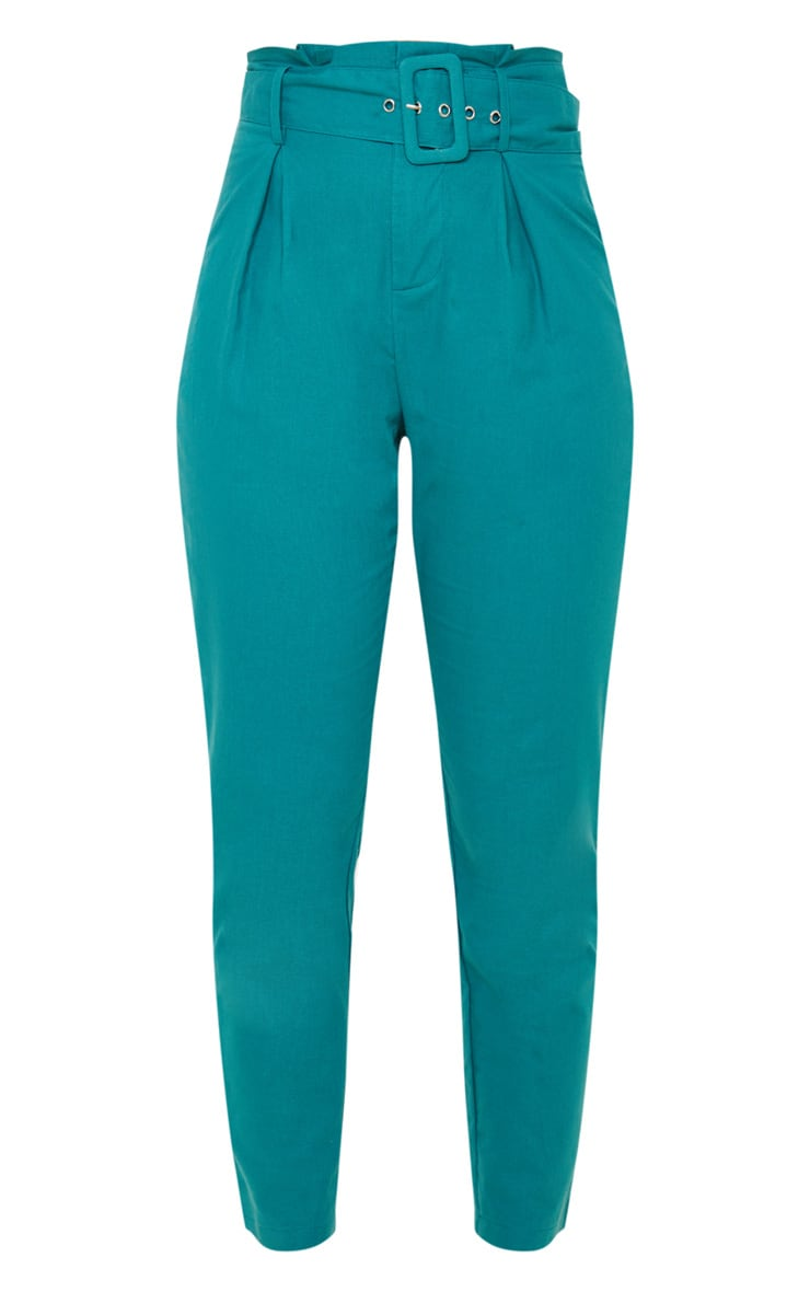Jasper Green Belted Paperbag Tapered Pants 4