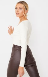 Cream Button Up Square Neck Cropped Cardigan 2