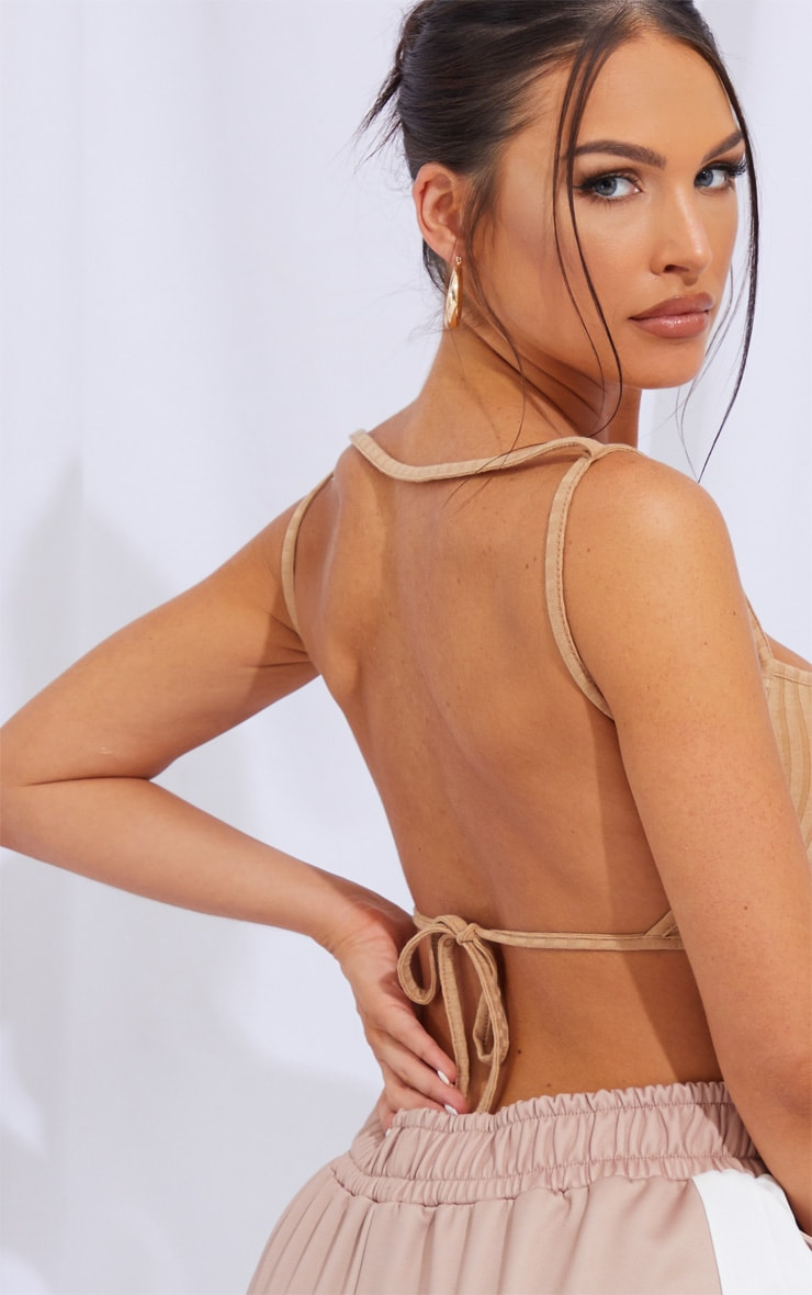 Beige Soft Rib Strappy Backless Tie Bralet 4