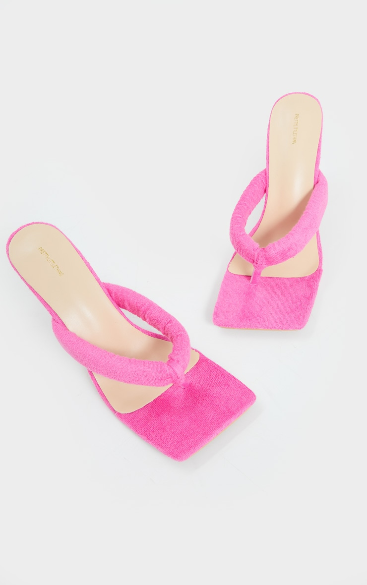 Pink Towelling Tube Strap Toe Thong Mid Heels 4