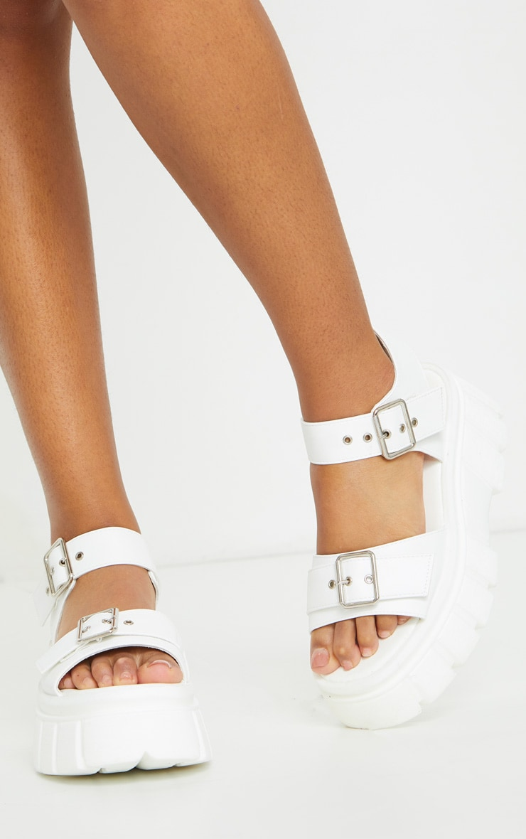 White Chunky Sole Buckle Detail Sandal 1