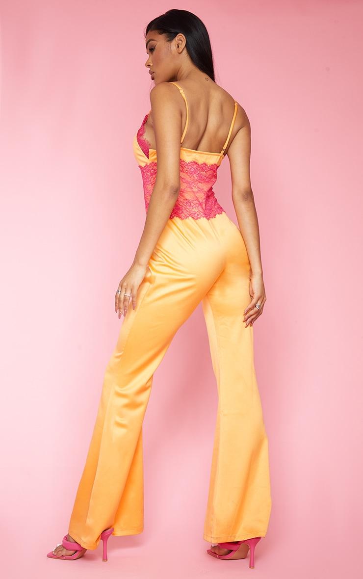 Bright Orange Contrast Lace Trim Satin Jumpsuit 2