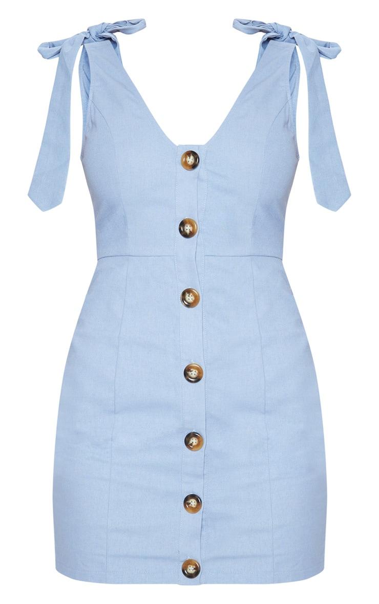 Blue Button Up Tie Strap Detail Shift Dress 3