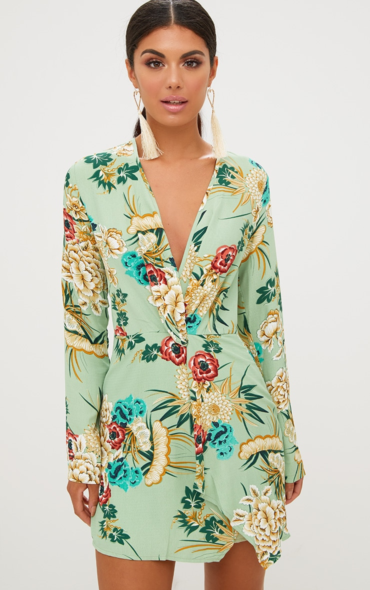 Sage Green Printed Long Sleeve Wrap Dress