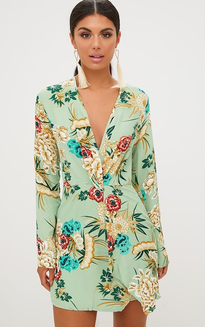 6a1daefabd8 Sage Green Printed Long Sleeve Wrap Dress