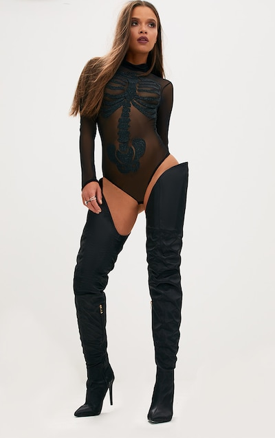 Black Skeleton Beaded Print Thong Bodysuit