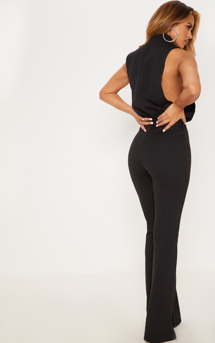 Petite Black Scuba High Neck Tie Waist Jumpsuit 2