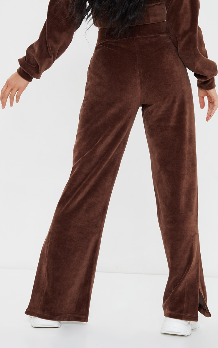 Petite Mocha Velour Seam Detail Wide Leg Sweat Pants 3