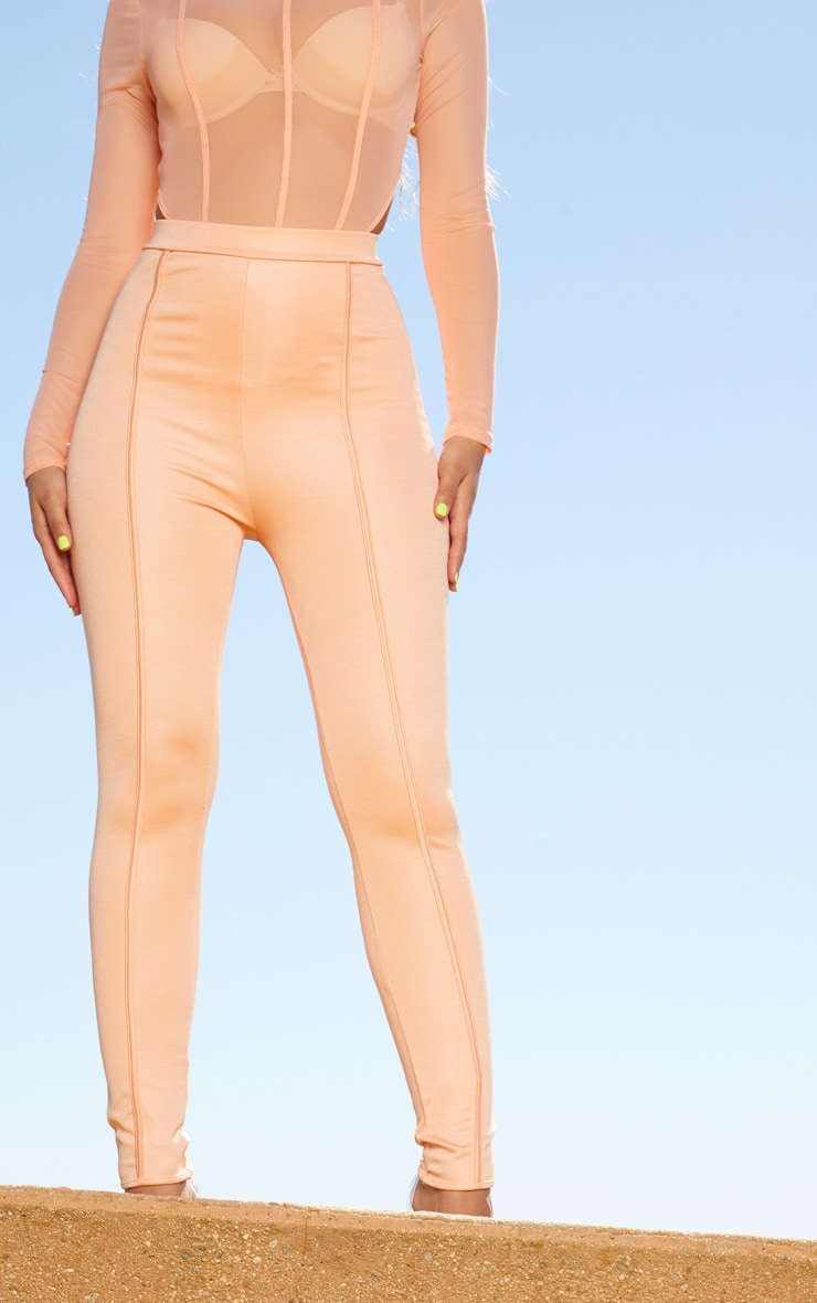 Peach Second Skin Piping Detail Skinny Trousers 2
