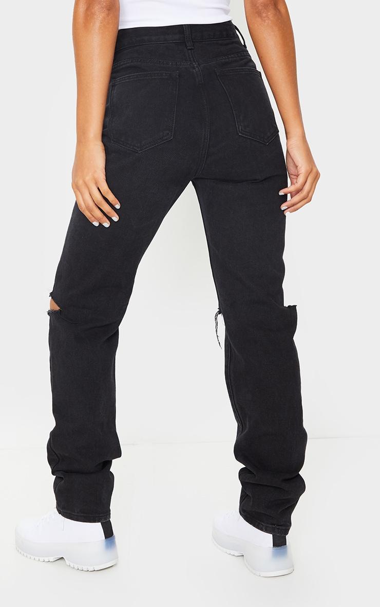 Washed Black Slash Knee Long Leg Straight Leg Jeans 3