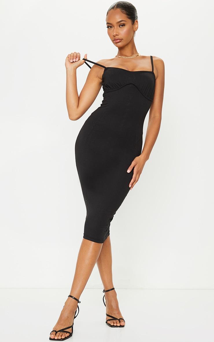 Black Cotton Underbust Binding Lace Back Midi Dress 2