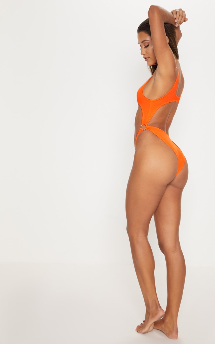 Orange Extreme Cut Out High Leg Swimsuit 2
