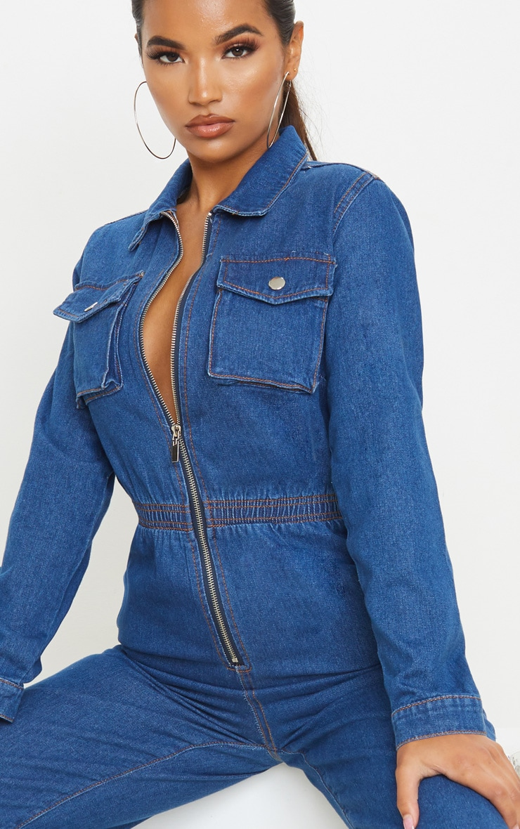 Mid Wash Zip Front Denim Jumpsuit 5