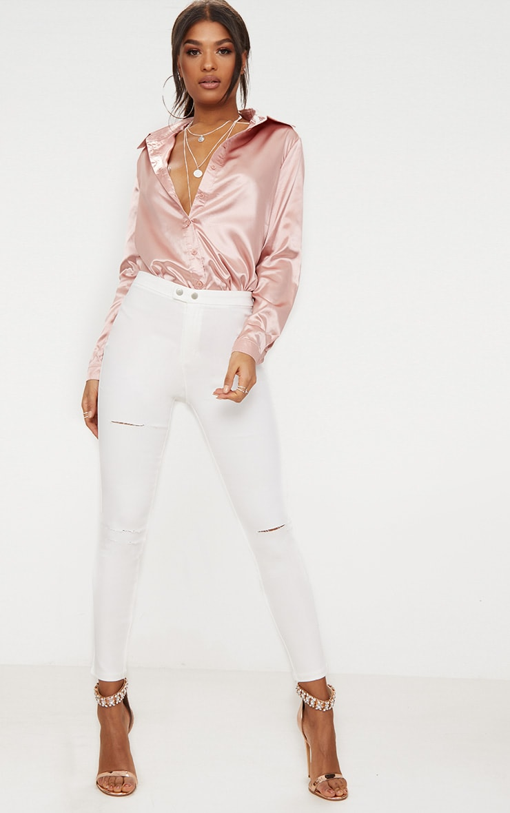 White Double Button Disco Skinny Jean