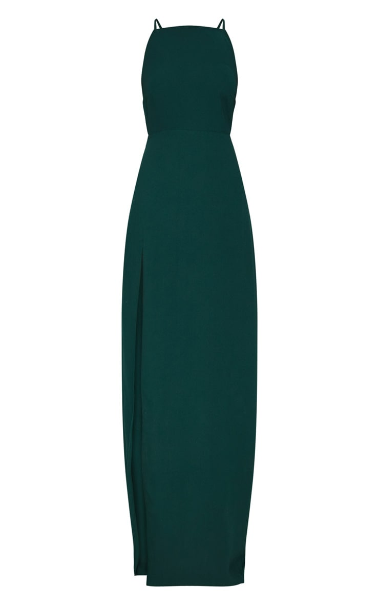 Green Strappy Back Detail Chiffon Maxi Dress 3