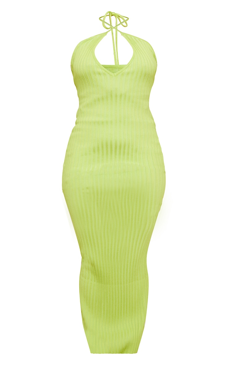 Lime Knitted Plunge Maxi Dress 6