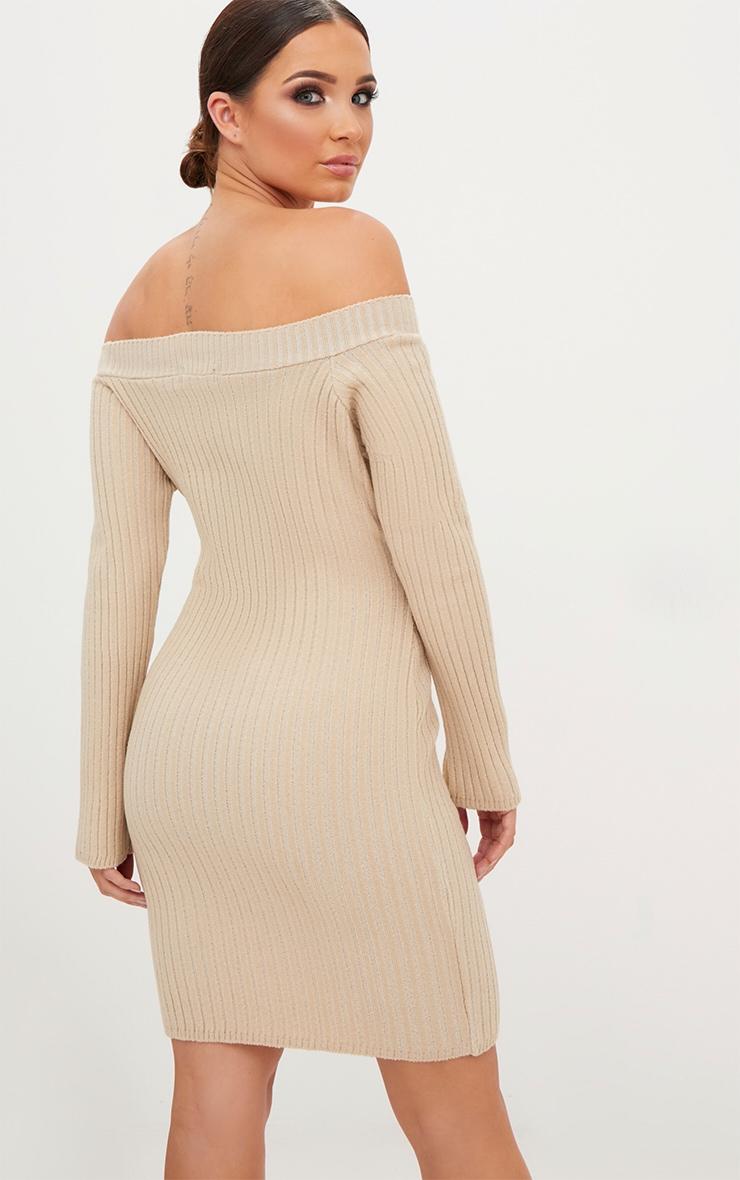Stone Knit Bardot Mini Jumper Dress 2