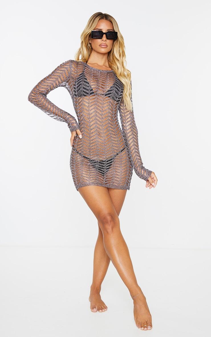 Gunmetal Metallic Chevron Knitted Crochet Dress 3