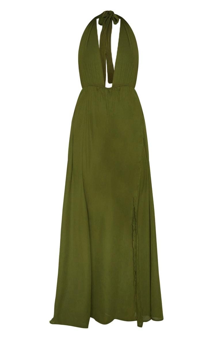 Alina robe maxi kaki à décolleté plongeant 3