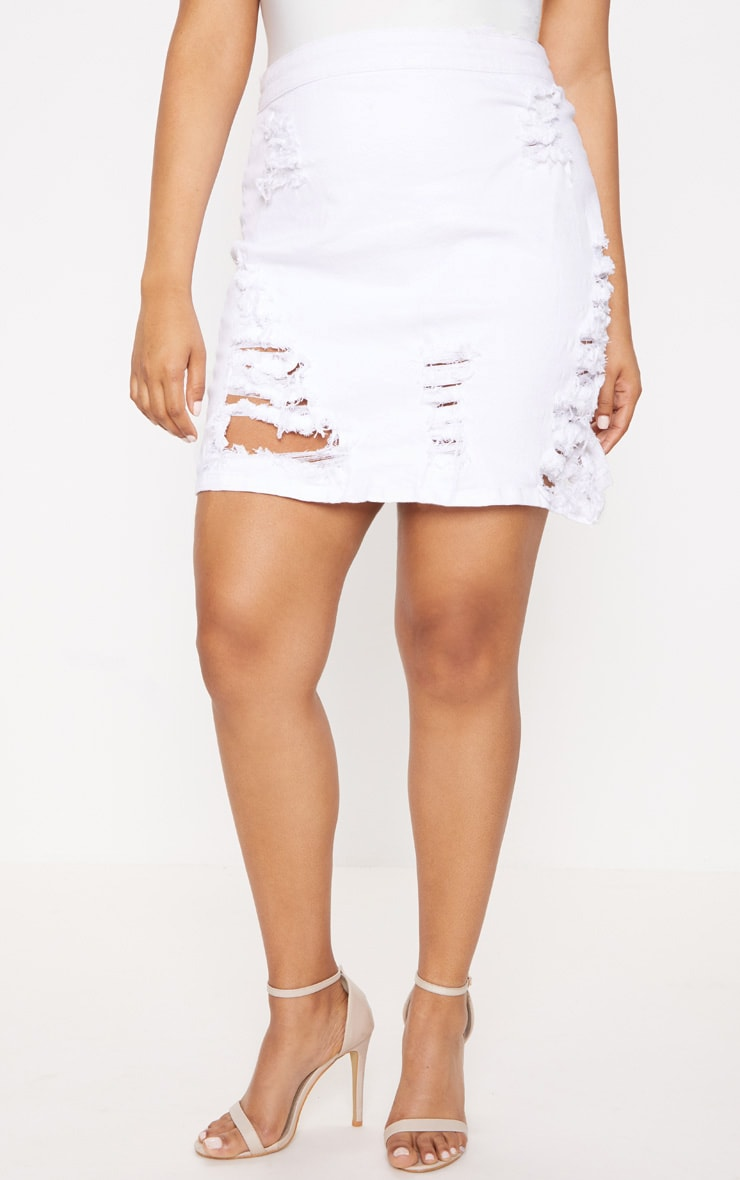 Plus White Distressed Denim Mini Skirt 2