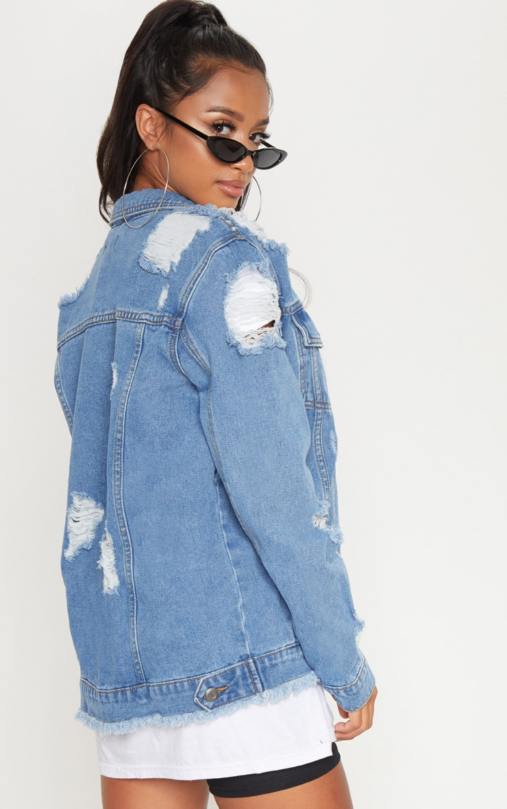 Petite Mid Blue Distressed Denim Jacket 2