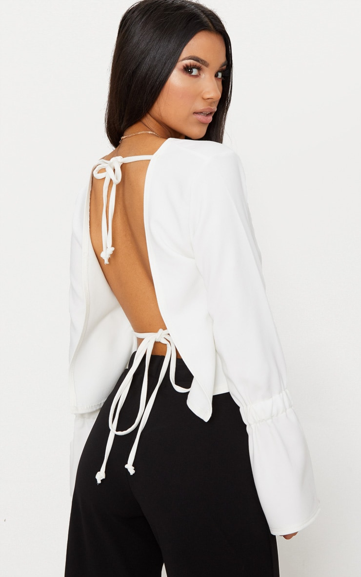 Cream Open Tie Back Frill Sleeve Top 1