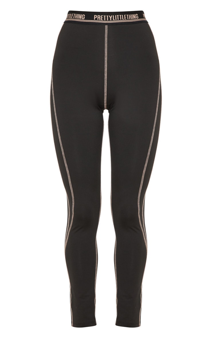 Black Contrast Stitch Gym Legging 3