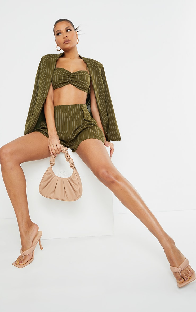 Olive Woven Pinstripe Ruched Tie Front Bralet 3