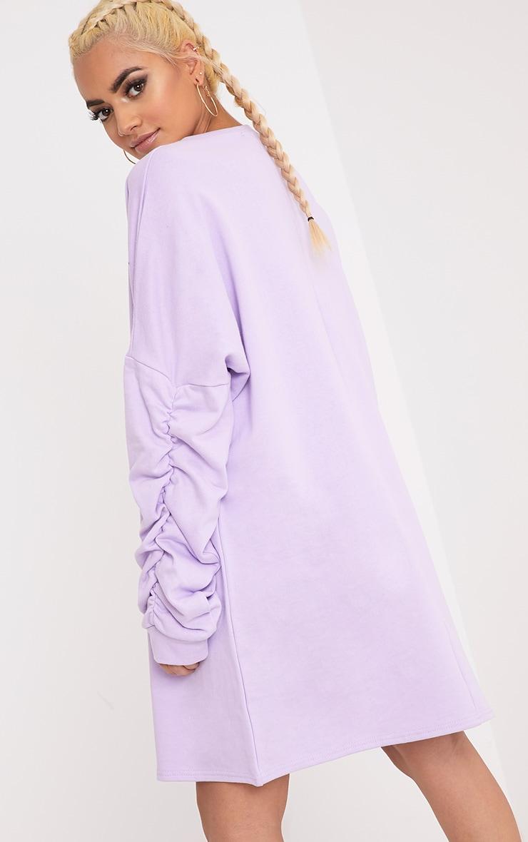 Royha Lilac Ruched Sleeve Sweater Dress 2