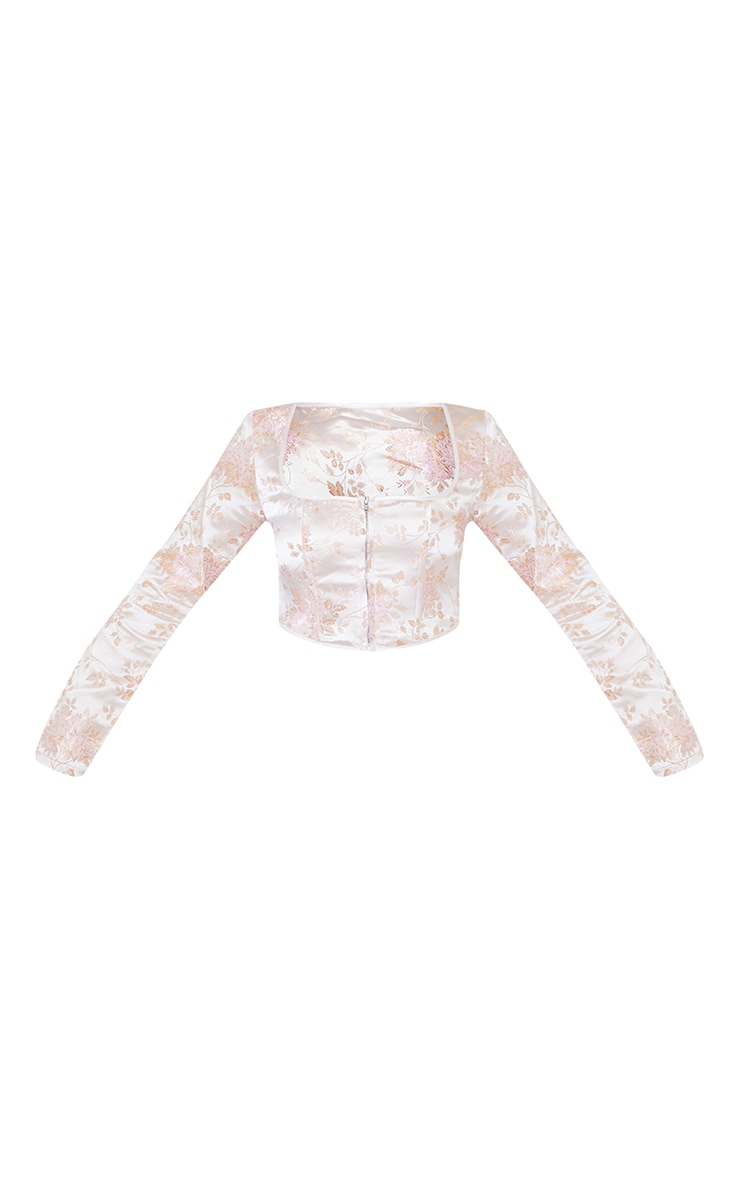 Light Pink Satin Print Zip Front Long Sleeve Corset 5