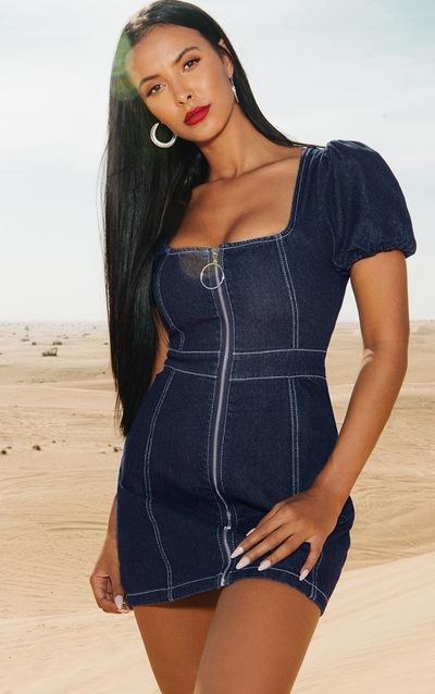 226d7b96cb5 Mid Wash Square Neck Puff Sleeve Denim Bodycon Dress