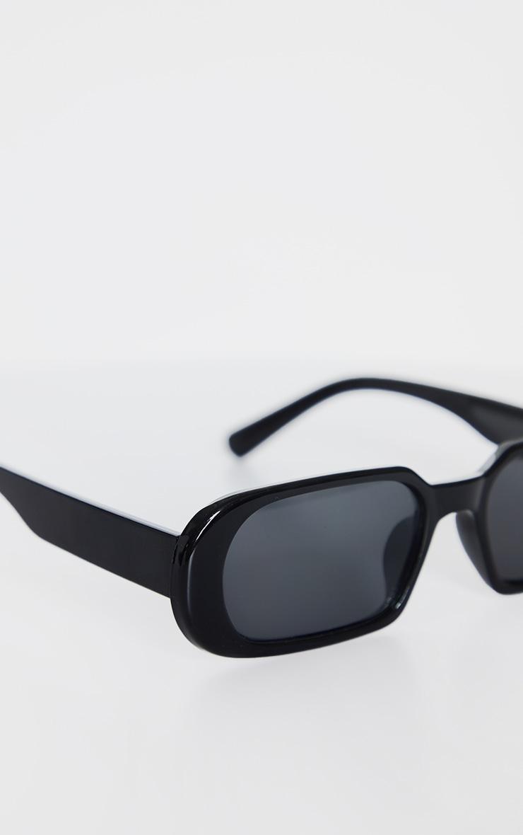 Black Roundframe Slim Sunglasses 3