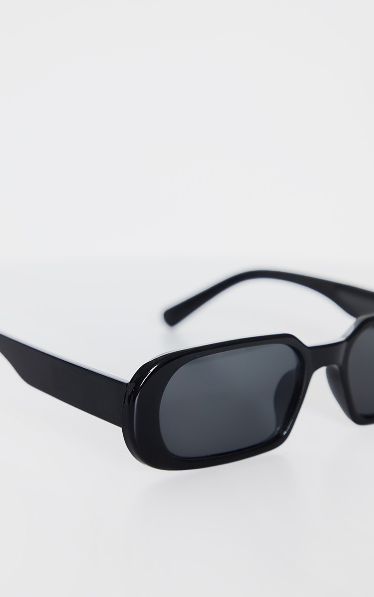 Black Round Frame Slim Sunglasses 3