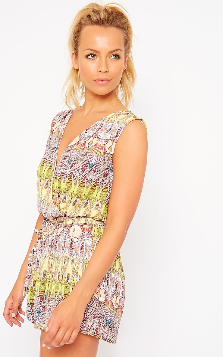 Kinsley Yellow Printed Chiffon Playsuit 4