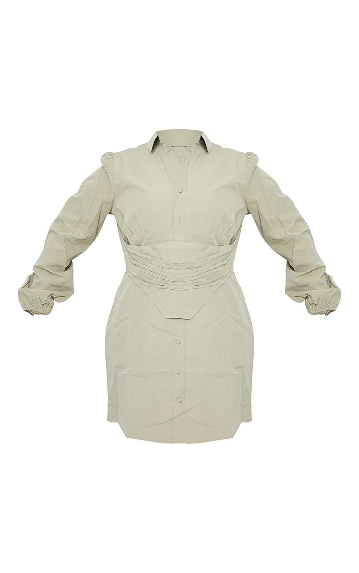 PLT Plus - Robe kaki à détail corset et manches bouffantes 5